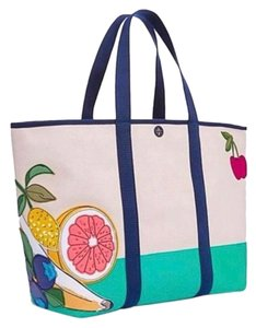 Tory Burch Tote in Turquoise and Cream