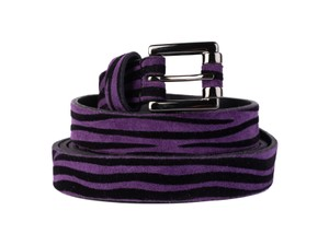 Just Cavalli Just Cavalli Womens Purple Suede Striped Double Wrap Waist Belt D416a