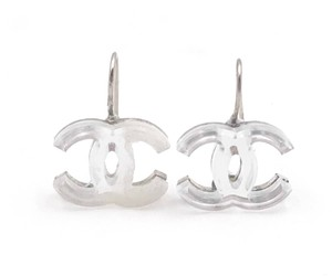 Chanel Authentic Chanel Silver CC Mirror Lever Back Piercing Earrings