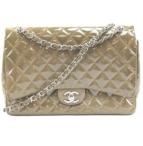 4aa8a3e34a58 Chanel Double Flap Maxi Patent Quilted Shoulder Bag