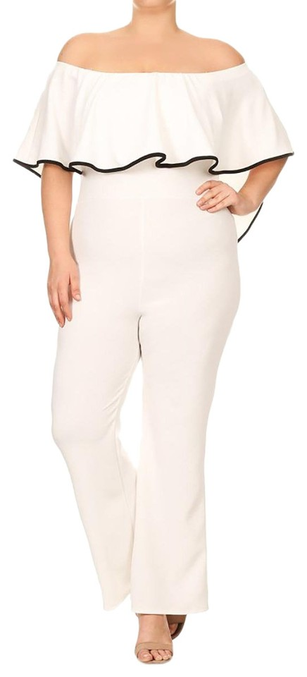 White Strapless Off Shoulder Stretch Casual Pants Romper/Jumpsuit 61% off  retail