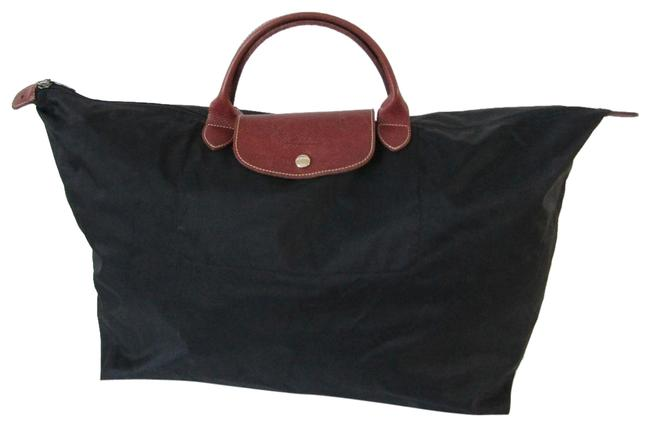 Item - Extra Large Le Plage Black with Brown Nylon Tote