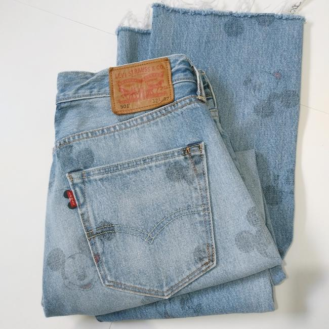 Item - Blue Distressed 501 Mickey Mouse Frayed Relaxed Fit Jeans Size 32 (8, M)