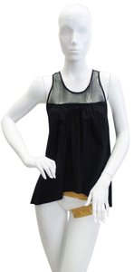 Hache Mesh Sleeveless Draped Top Black