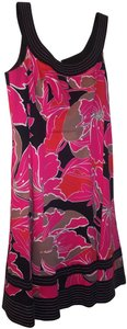 Nine West short dress Multi pink black taupe Skater Floral Fitted Print Sleeveless on Tradesy