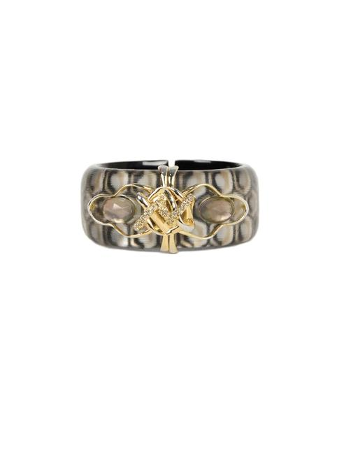 Item - Grey Lucite Honeycomb Pattern Cuff Bracelet