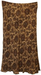Michael Kors Silk Paisley Size 2 Xs New With Tags Skirt Brown