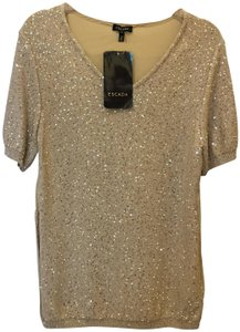Escada Evening Sequin Sand Dune Cotton Silk Blend Size S Small 4-6 New With Tags Top Tan