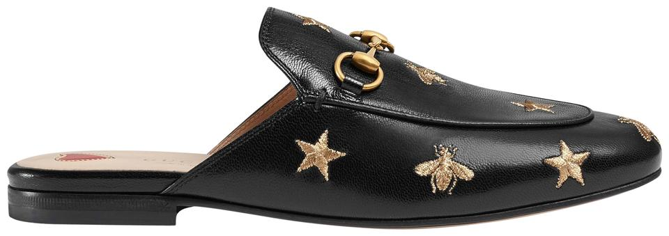 87b8a16861439 Gucci Black Princetown Embroidered Leather Slipper Flats Size EU ...