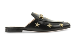 Gucci Leather Gold Hardware Embroidered Black Flats