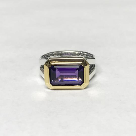 David Yurman Sterling Silver Novella Statement Ring With Amethyst And 18K Gold Image 1