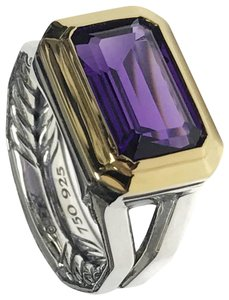 David Yurman Sterling Silver Novella Statement Ring With Amethyst And 18K Gold
