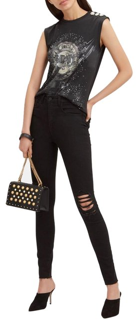 Item - Black Distressed Highrise Ribbed Skinny Jeans Size 0 (XS, 25)