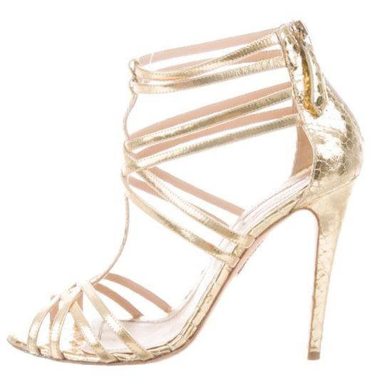 Aquazzura Strappy Stiletto Caged gold Sandals Image 1