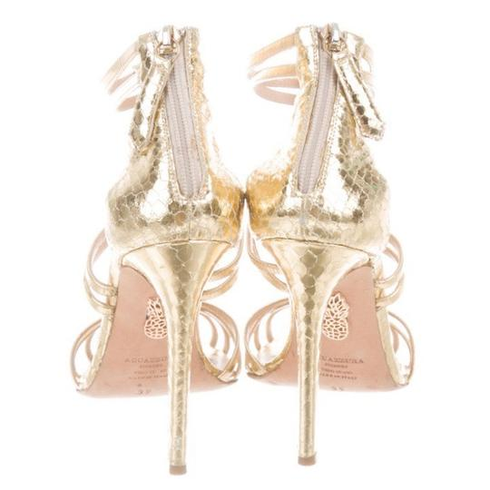 Aquazzura Strappy Stiletto Caged gold Sandals Image 2