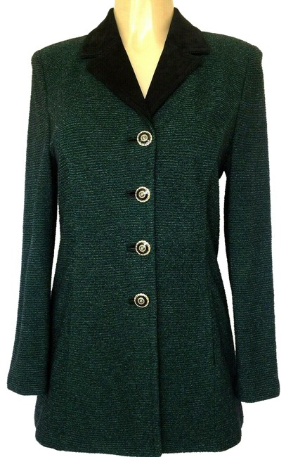 Item - Green Collection Knit Black Jacket Sweater Coat Button Blazer Size 6 (S)