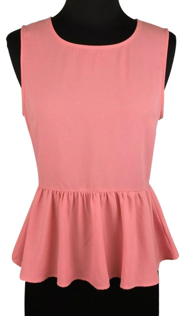 Item - Pink Coral Peplum Button Up Back Casual Tank Top/Cami Size 4 (S)
