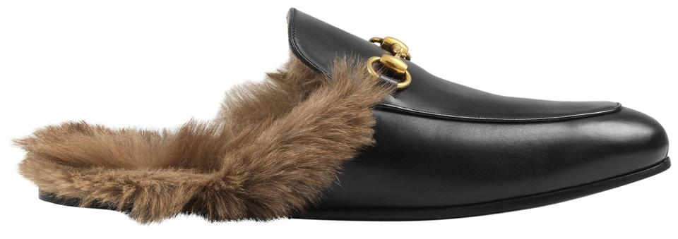 Gucci Black New Princetown Fur,lined Leather Slippers 12 Mules/Slides Size  EU 42 (Approx. US 12) Regular (M, B)