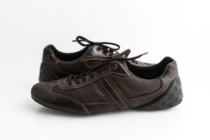 Louis Vuitton Brown Leather Monogram Sneakers Shoes