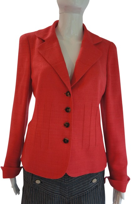Item - Coral Pink Silk with Cuffed Sleeves Blazer Size 6 (S)