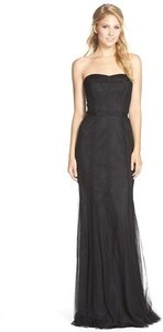 Monique Lhuillier Black Tulle & Lace No Style Number Feminine Bridesmaid/Mob Dress Size 8 (M)