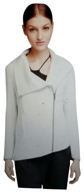 Item - Heathered Gray/White Jersey Villous Asymmetrical Stretch Sweatshirt Activewear Outerwear Size 6 (S)