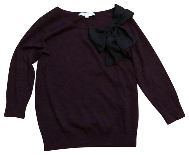 Item - 3/4 Length Sleeves Maroon with Black Bow Sweater