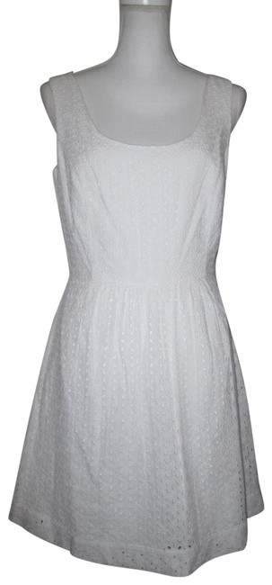 Item - White Sleeveless Eyelet Fit & Flare Mid-length Short Casual Dress Size 6 (S)
