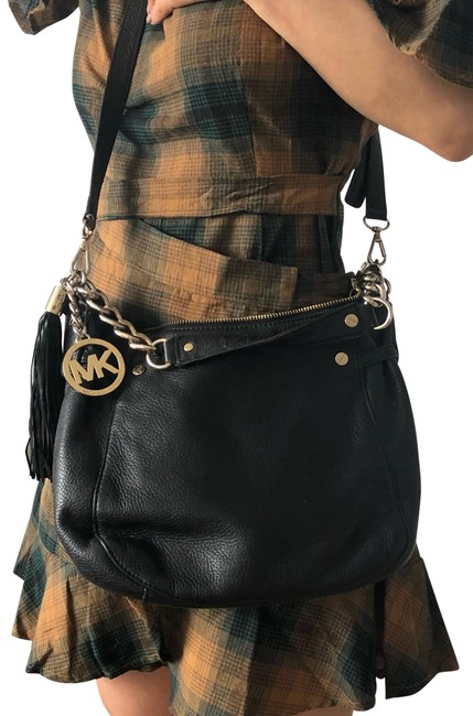 Item - Black with Gold Leather Hobo Bag