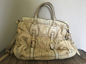Prada Classic Studded Leather Vintage Tote in Beige