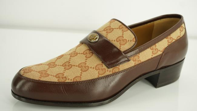 Item - Brown Gg Canvas Leather Team Penny Loafers Shoes