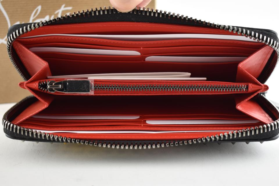 d8cacf5e586 Christian Louboutin Black Long Panettone Mix Spike Multicolor Red Zip  Around Continental Wallet