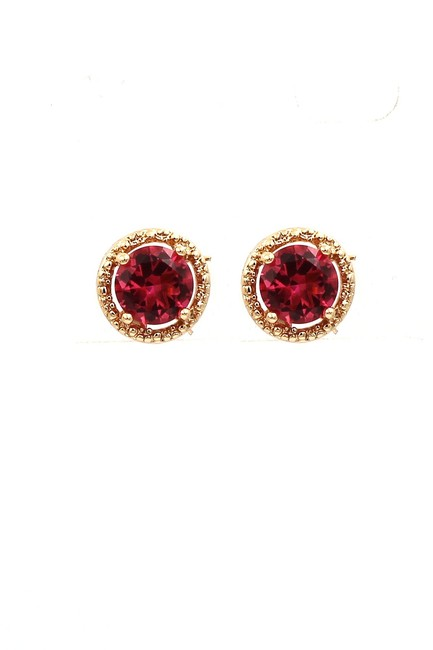 Item - Gold Red Four-claw Crystal Earrings