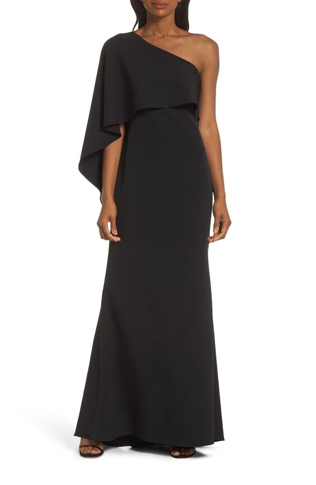 Vince Camuto Black One Shoulder Cape Evening Long Formal