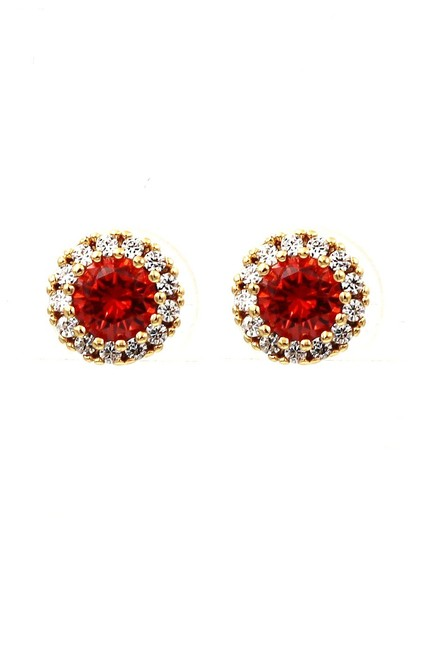 Item - Gold Red Shiny Crystal Earrings