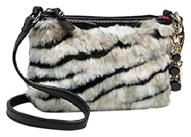 """Item - New with Tags~juicy """"Ziger"""" Small Black/White/Light Tan/Gold Faux Fur/Genuine Leather Cross Body Bag"""