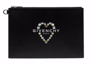 eeb1bf4c78 Givenchy Leather Rectangular Zippered Made In Italy Logo Patch Black Clutch