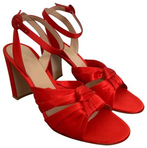 Gianvito Rossi Satin Open Toe Ankle Strap Pumps Red Sandals