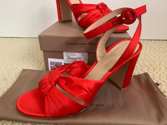 Gianvito Rossi Satin Open Toe Ankle Strap Pumps Red Sandals Image 11
