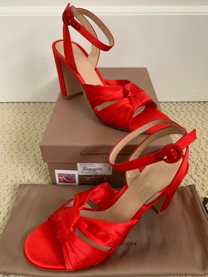 Gianvito Rossi Satin Open Toe Ankle Strap Pumps Red Sandals Image 2
