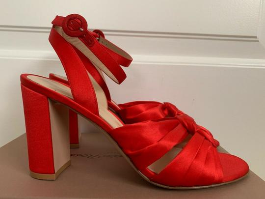 Gianvito Rossi Satin Open Toe Ankle Strap Pumps Red Sandals Image 3