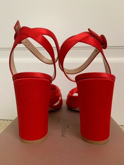 Gianvito Rossi Satin Open Toe Ankle Strap Pumps Red Sandals Image 4