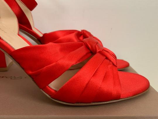 Gianvito Rossi Satin Open Toe Ankle Strap Pumps Red Sandals Image 9
