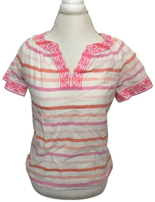Item - Pink White Coral/Orange Linen Embroidered Neon Striped Short Sleeve Blouse Size 00 (XXS)
