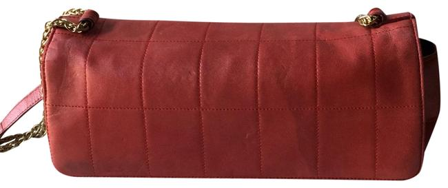 Item - Quilted Red Lambskin Leather Shoulder Bag