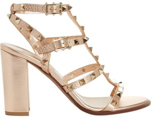 Valentino Studded Pointed Toe Leather Ankle Strap Stiletto gold Pumps