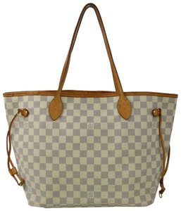 Louis Vuitton Neverfull Mm Damier White Tote in Azur
