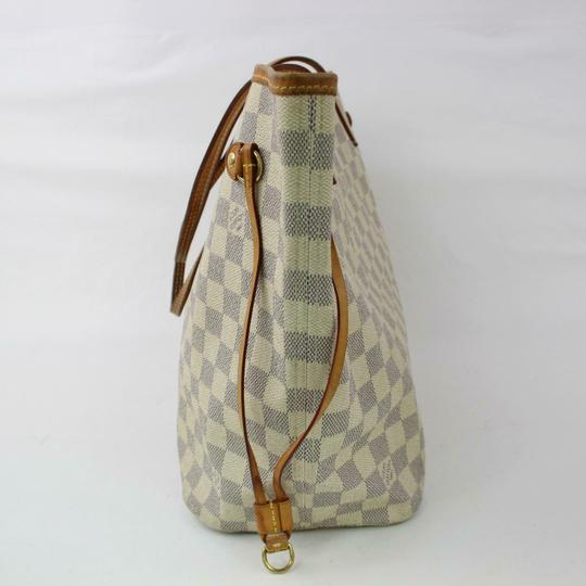 Louis Vuitton Neverfull Mm Damier White Tote in Azur Image 2