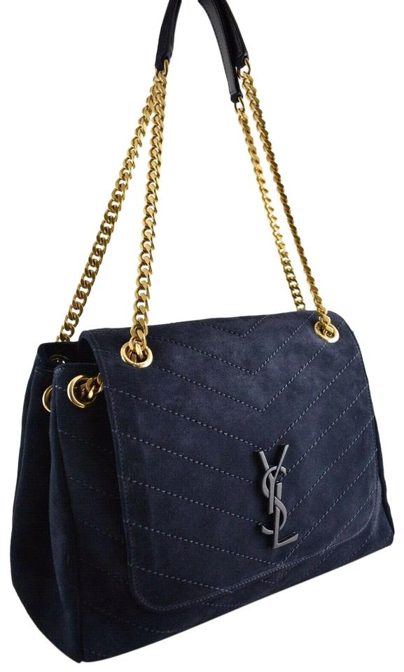 Saint Laurent Nolita Ysl Large Navy Logo Plaque Chain Top