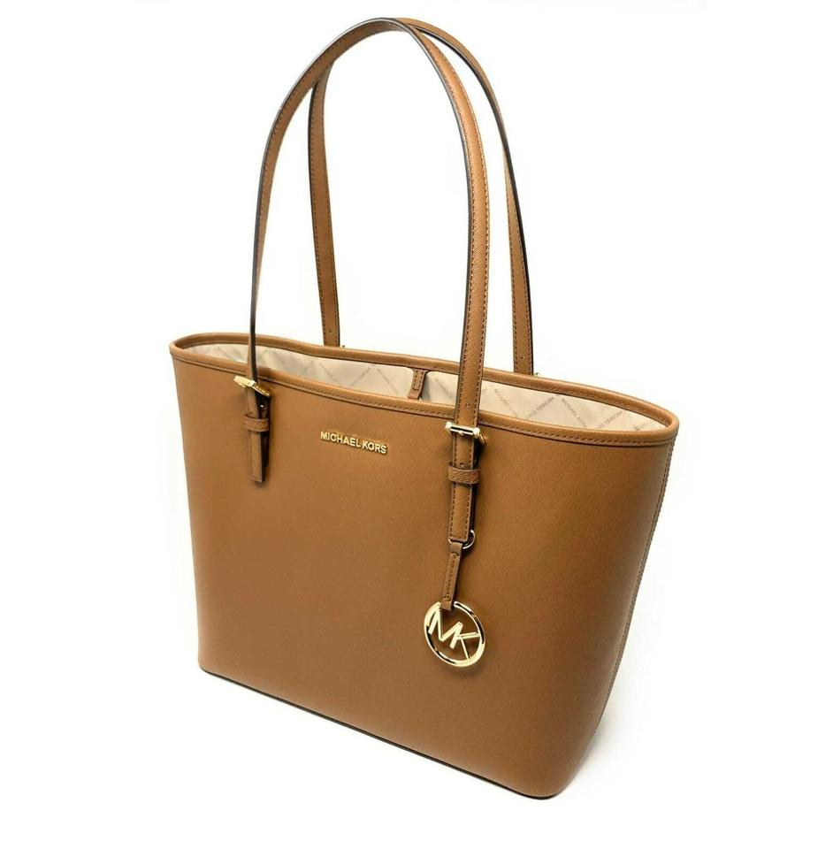 Michael Kors Carryall Bag Jet Set Travel Medium LeatherSignature Luggage PvcLeather Tote 56% off retail